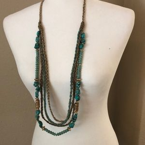 Chico's Turquoise and Gold Necklace